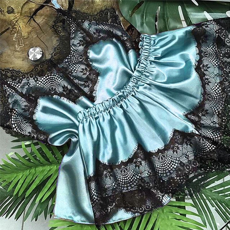 New 2019 Women Stain Lace V Neck Sleepwear Nightwear Satin Crop Top+Shorts 2pcs Set Babydoll Lingerie Sexy