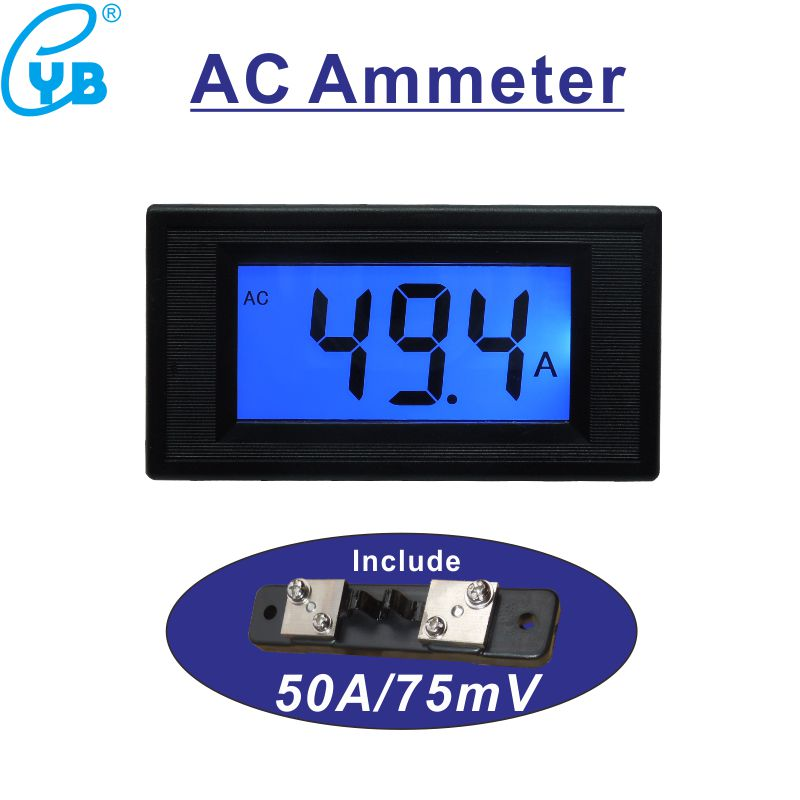 Ac 0-50a Current Meter With Current Sensor 50a/75mv Amperemetre Lcd Digital Blue Backlit Ampere Meter Positive Negative Current Non-Ironing Electrical Instruments