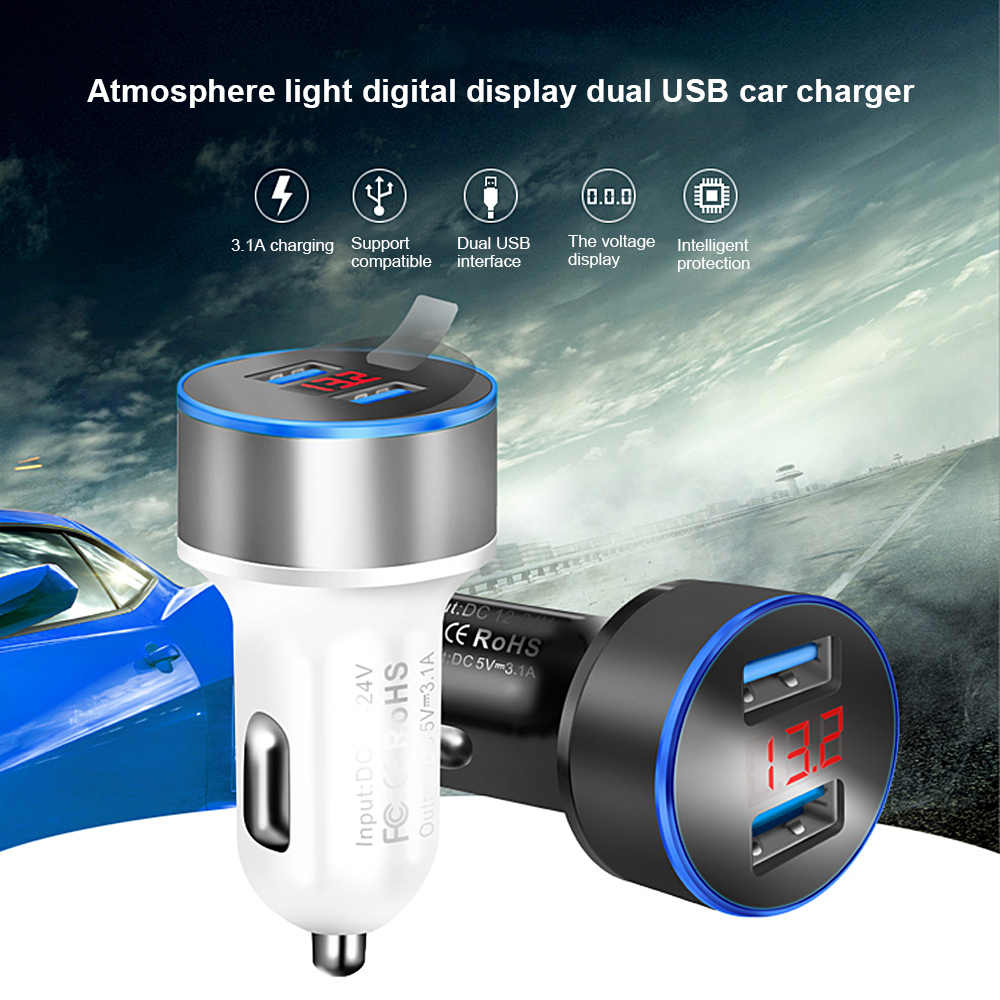 3.1A Dual USB Car Charger 2 Port LCD Display 12-24V Cigarette Lighters Socket White For Tesla Model 3 Bmw E46 E90 Ford Focus 2