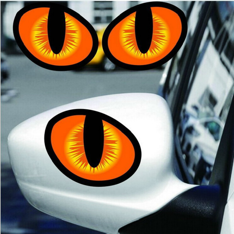 New Pair 3D Funny Cat Eyes Car Stickers Truck Head Engine Rear View Mirror Window Cover Door Decal Graphics 10 X 8cm