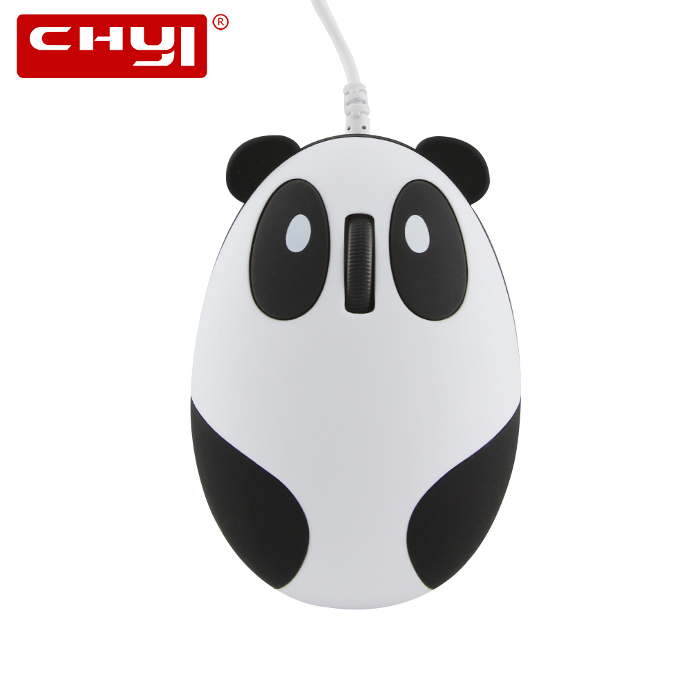 CHYI Computer Optical Mouse Wired Cute Cartoon Panda 1600DPI Mause USB Cable 3D Gaming Mice With Mouse Pad For Kids