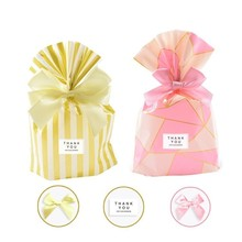 50 PCS Gift Bag Plastic Wedding Favor Birthday Candy Cookie Gold Dot Easter Packaging Wrapping Ribbon Bow Opp
