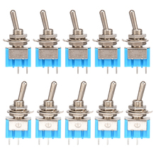 10 Piece Electrical Mini Toggle Switches MTS-101 2 Pins ON/OFF 2 Positions 6A 125V 250Vmax AC SPST Type Toggle Switch 5pcs lot mini mts 102 3 pin g107 spdt on on 6a 125v 3a250vac toggle switches good quality free shipping