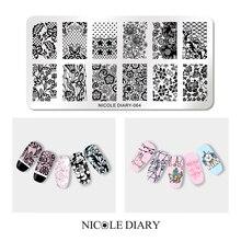 NICOLE дневник ногтей штамповки пластины прямоугольник круглой формы круглая луна звезда дизайн нержавеющая сталь дизайн ногтей штамп шаблон изображения