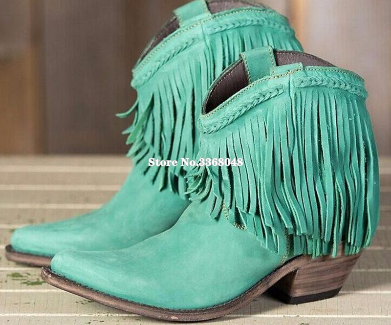 2019 Sky Blue Fringed Low Chunky Heels Ankle Boots For Woman Sexy Pointed Toe Knight Tassels Boots Woman Casual Dress Shoes2019 Sky Blue Fringed Low Chunky Heels Ankle Boots For Woman Sexy Pointed Toe Knight Tassels Boots Woman Casual Dress Shoes
