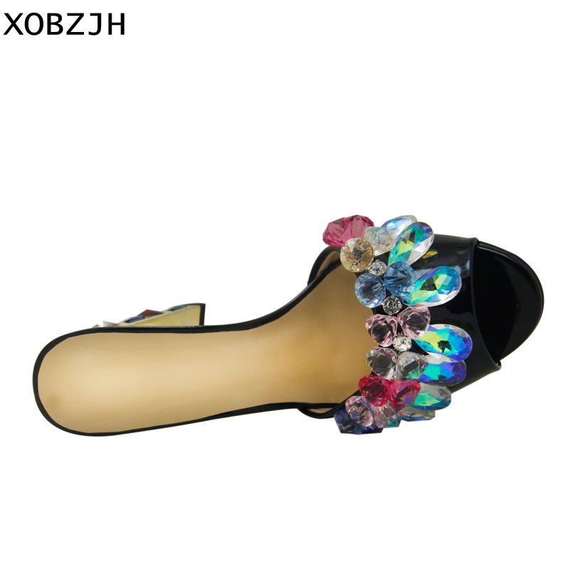 Image 4 - Luxury Sandals Women Shoes 2019 Leather Black Crystal High Heels Peep Toe Rhinestone Brand designer Sandals wedding Shoes Woman-in High Heels from Shoes