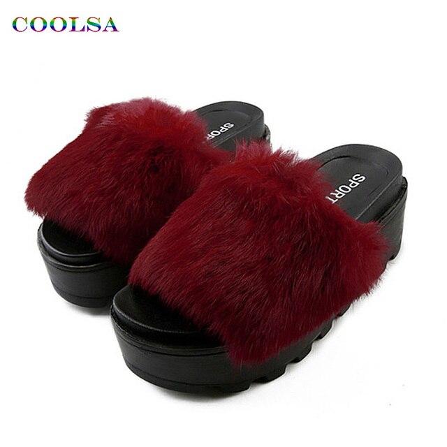 7adaf4e237961 Coolsa New Fashion Women Plush Slippers Fluffy Animal Fur Slides Thicker  Bottom Platform Slipper Ladies Casual Cute Flat Shoes