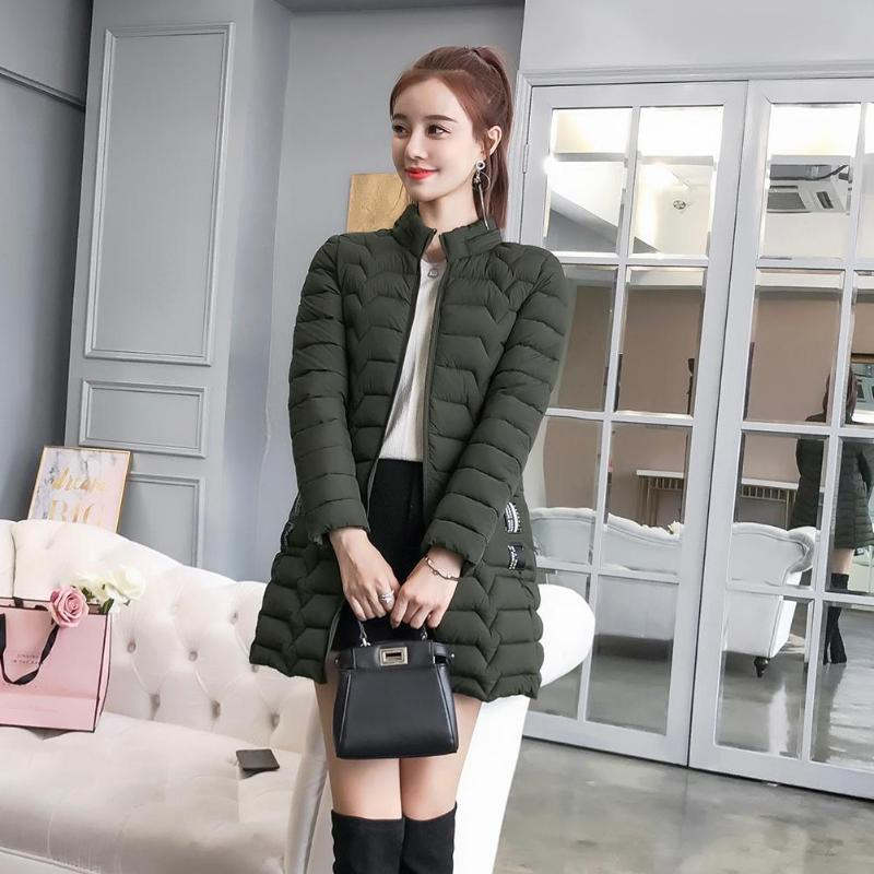 Solid Color Winter Jackets Women Slim Fit Fashion Zipper Hooded   Down     Coat   Thicken Pockets Outerwear Plus Size