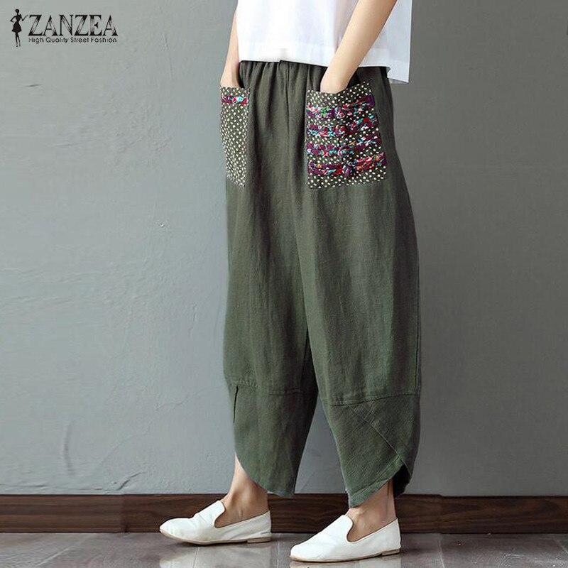 Vintage Linen Pants ZANZEA 2019 Women's Trousers Elastic Waist Palazzo Female Patchwork Wide Leg Pantalon Plus Size Harem Pants