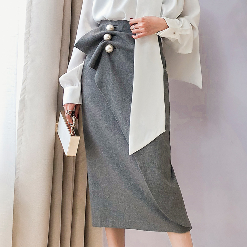 DEAT 2019 New Fashion Women Clothing Pearls Pleated Covered Hips High Waist Skirt OL Spring And