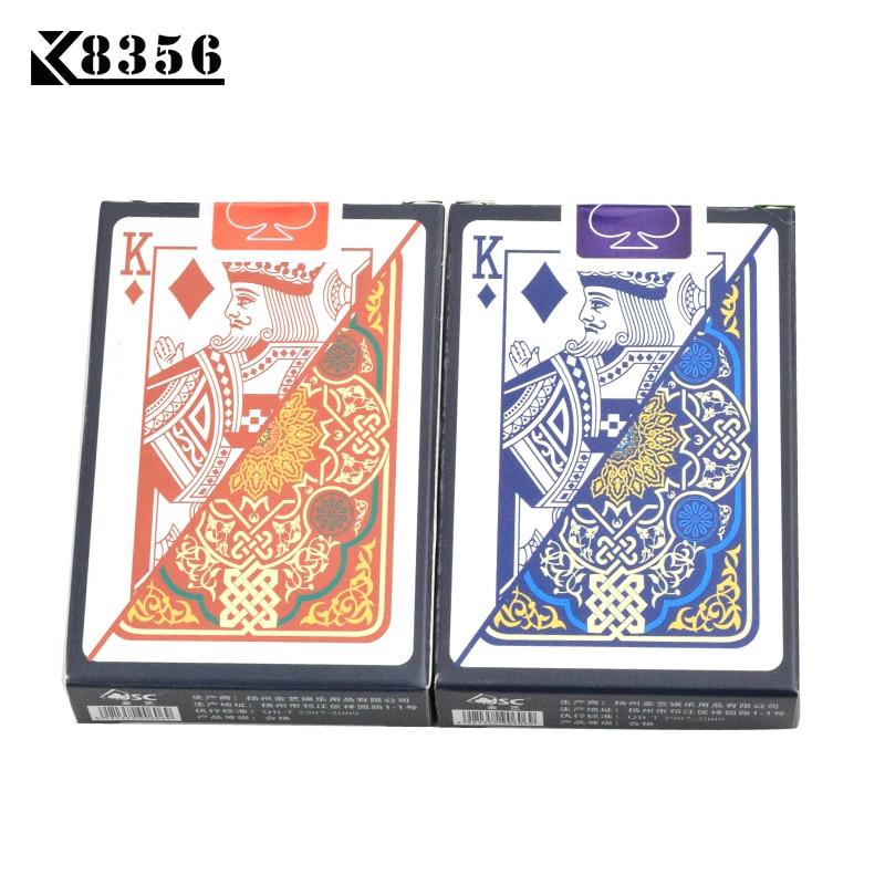 K8356 2Sets/Lot Plastic Playing Cards Texas Hold'em Poker Cards Narrow Brand PVC Poker Board Games Waterproof Wearable Bridge