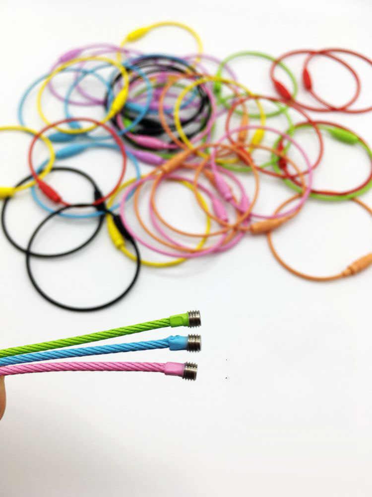 1 pieza de cuerdas de alambre de pintura de Color de acero inoxidable llaveros de alambre cadenas de dulces