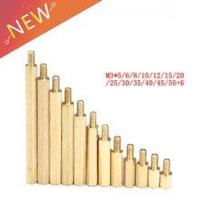 10 pces m3 * (5-50) + 6mm hex cabeça parafusos de espaçamento de bronze rosqueado pilar pcb computador pc placa-mãe espaçador impasse