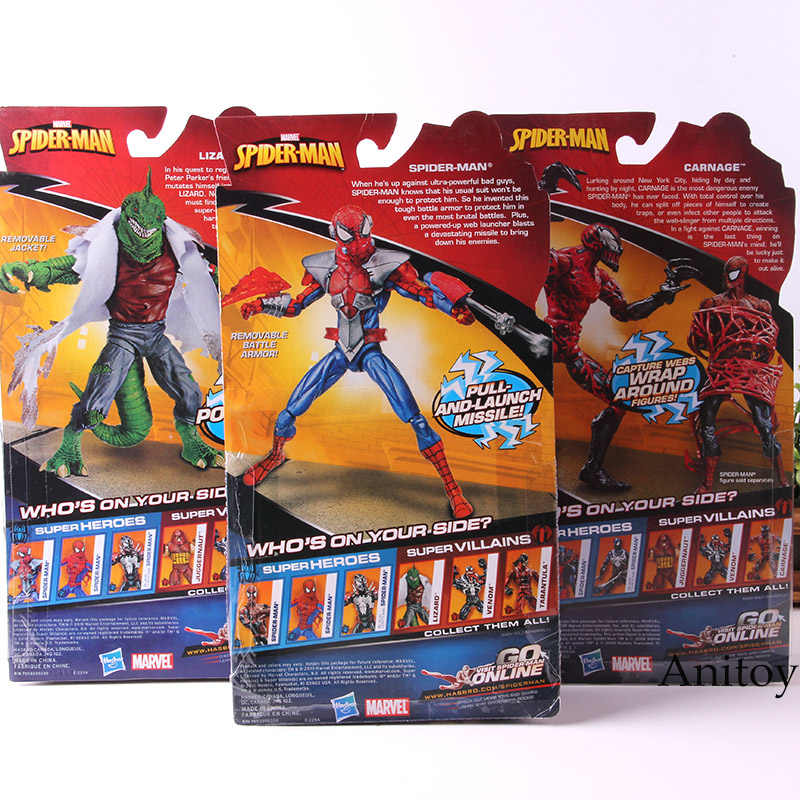 مارفل الرجل العنكبوت سحلية مذابح السم سبايدرمان عمل الشكل بك مجموعة نموذج لعب للأولاد الهدايا