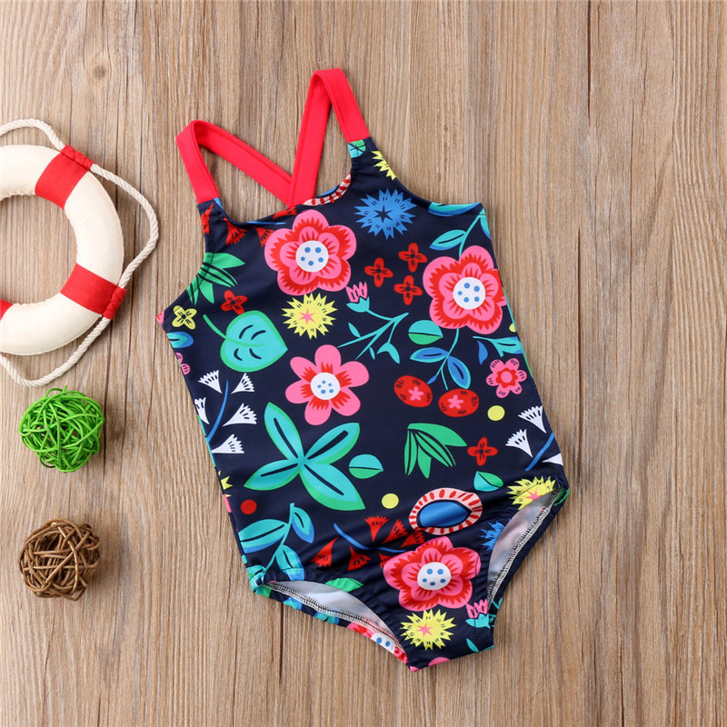 Toddler Kids Baby Girl Flowers Swimsuit Swimwear Swimming Costume One-piece US