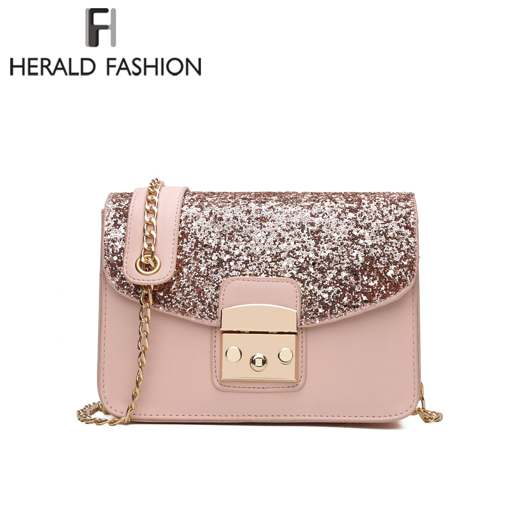 Herald Fashion Women Sequined Messenger Bag Quality Leather Women's Flap Bag Chain Strap Female Shoulder Bag Lay Crossbody Bags herald fashion mini velvet embroidery crane shell bag wild strap fashion shoulder bags designer tassel vintage crossbody bag