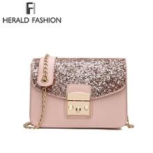 Herald модные женские туфли блестками сумка из высококачественной кожи Для женщин клапаном сумка ремешок-цепочка женский сумка лежал сумки через плечо