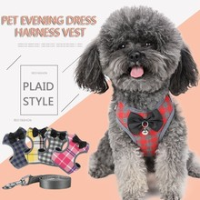 Plaid Evening Dress Small Dog Harness Vest With Leash Pitbull Mesh Puppy Beagle Pet Accessories Cats Products For Pets
