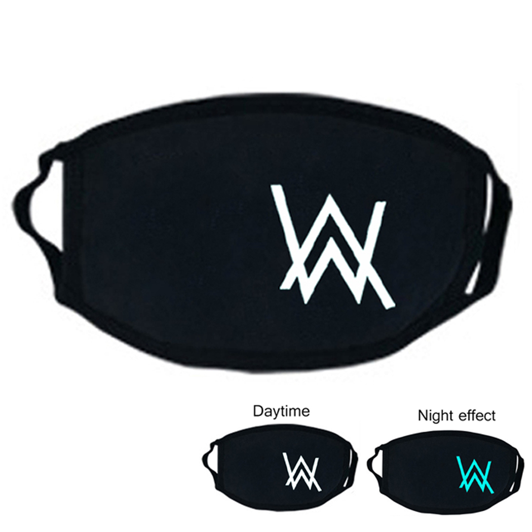 Women Men Black PM2.5 Mouth Mask Creative Cartoon Luminous Anti-dust Cotton Mouth Cover Half Face Mask Dropshipping