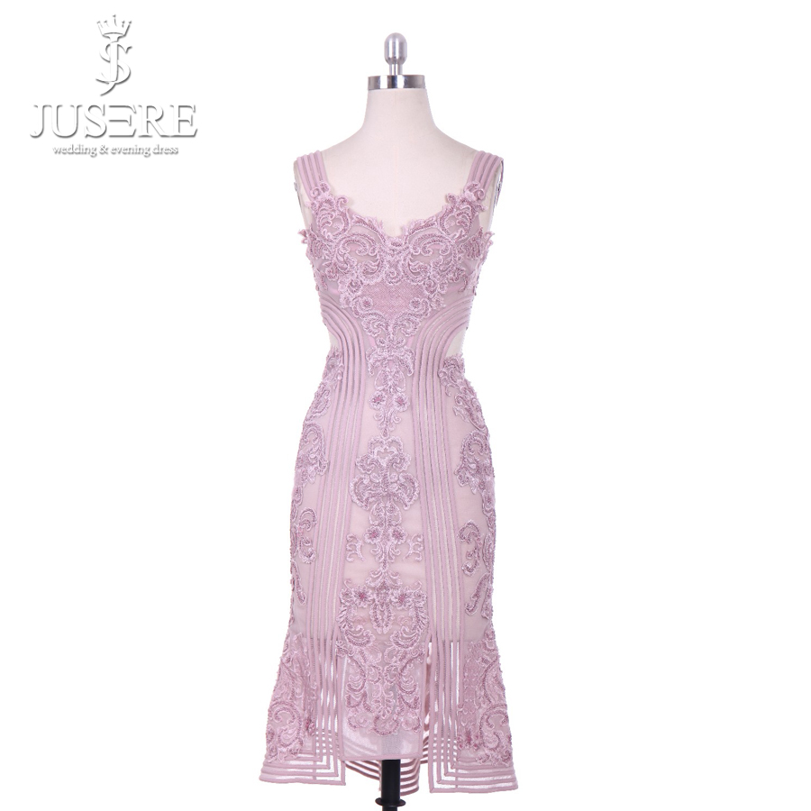 2018 Jusere Simple Knee-Length Classic Sheath Mermaid   V-Neck Appliqued Lace Embroidered Short Evening Dresses Prom Party Gown