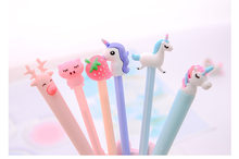 50pcs/lot Korea Fruits Unicorn Piggy Fresh Gel Ink Writing Pens Office Study Materials Kids Birthday Party Favor Stationery(China)