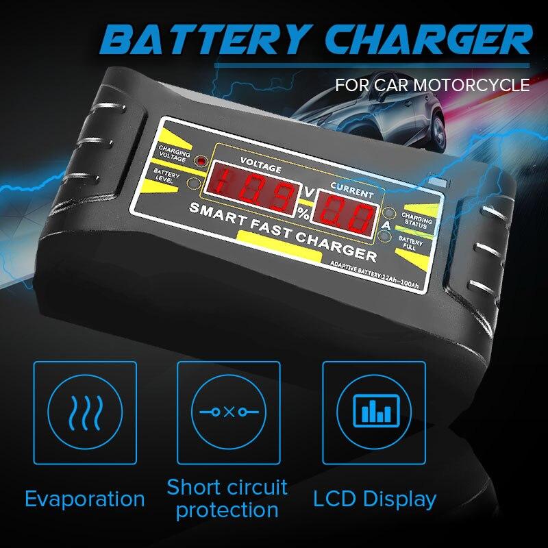 Volle Automatische Auto Ladegerät 110 V/220 V Zu 12 V 6A Batterie Ladegerät Digital Display Auto Smart Schnelle lade für Auto Motorrad