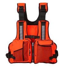 Multi bolsillos pesca vida chaleco chaqueta navegar en kayak barco chaleco  chaqueta 165lbs(China) bf9955330836