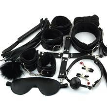 Hot10Pcs/set Sex Toys For Woman PU Leather SM Sex Bondage Set Hand Cuffs Footcuff Whip Rope Blindfold Erotic Sex Toys For Couple