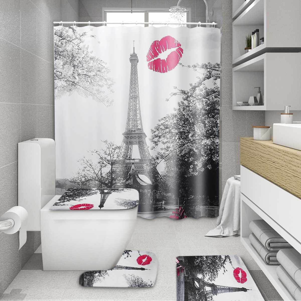 Paris Eiffel Tower 3D Waterproof Modern Bathroom Shower Curtain Home Decoration