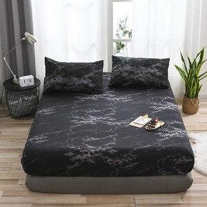 Image 2 - Matras Beschermhoes Hoeslaken Cover Marmer Bed Stofkap Enkele Dubbele Queen Size Bed Bescherm Cover Kussensloop