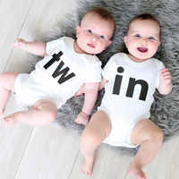 TW IN Letter Print Newborn Infant Baby Boys Girls Bodysuit Cute Baby Twins Short Sleeve Bodysuits Outfits Clothes Baby Clothing