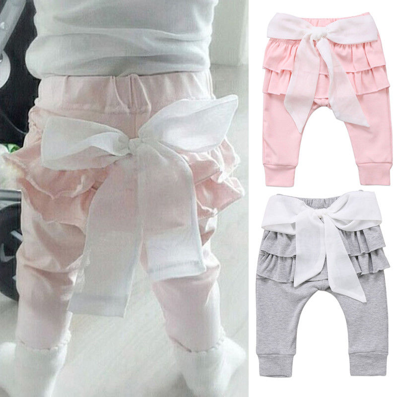 Newborn Infant Baby Pants Princess Big Bow Toddlers Girls Trousers Layered Casual Bottoms Cute Lovely Infant Children Pants