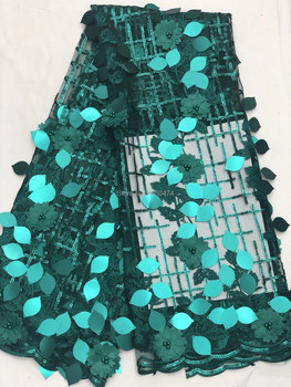 2019 High Quality 3D lace African Lace Fabric With Beads /Big SequinsNigerian Lace Fabric For Women Design French Lace Fabrics
