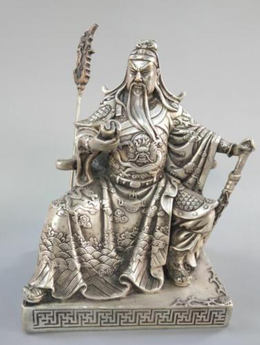 Chinese exquisite white copper guan gong decoration statueChinese exquisite white copper guan gong decoration statue