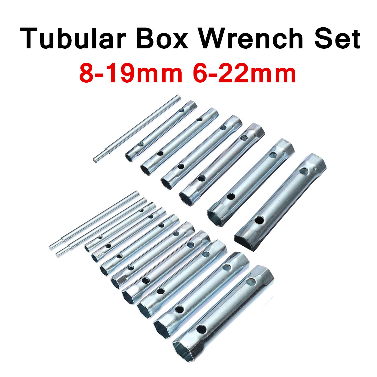 6PC/10PC Metric Tubular Box Wrench Set 8-19mm 6-22mm Tube Bar Spark-Plug Spanner Steel Double Ended For Automotive Plumb Repair