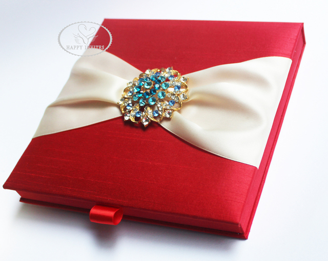 Free Shipping for Some Countries! HI2019 Hot Sale Red Silk Box with Brooch for  Wedding Invitation More Colors Available 76741368affc