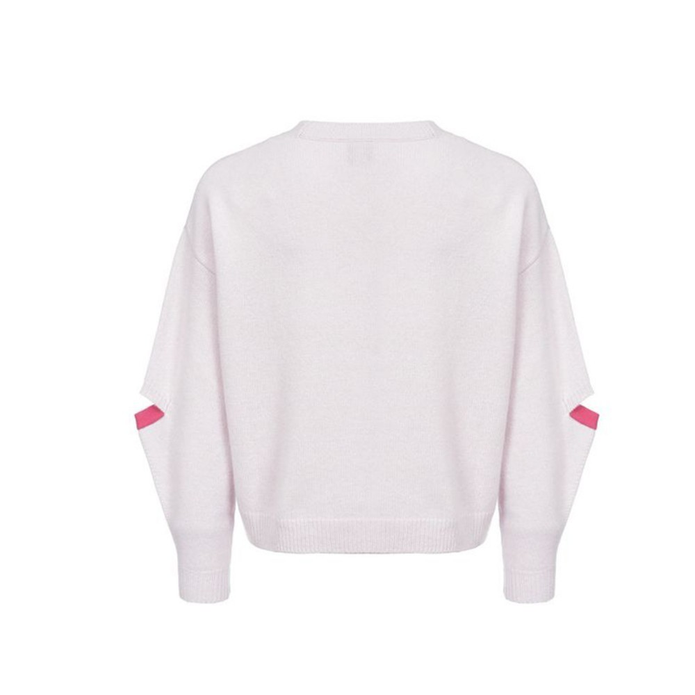 Hyh Haoyihui Leisure  Girl Long Slit Sleeve Sweater Color Collision Splicing Round Collar Pullover Women Knitting O-Neck Tops