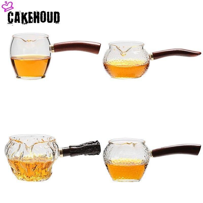 CAKEHOUD Kung Fu Tea Set Borosilicate Glass Teapot Office Tea Set Durable Coffee Pot Wooden Handle Glass Teapot Mini Glass Pot
