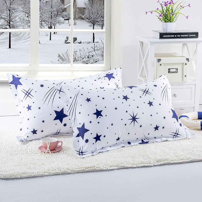 1 Piece White Color Blue Stars Pillow Case For Bedroom Use 48cm*74cm Pillowcase Cover For Kids Adults 50