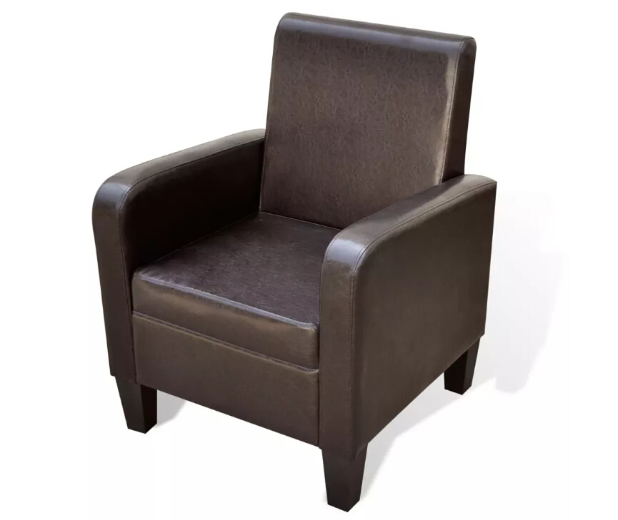 VidaXL Brown / Black / White Artificial Leather Chair Solid Synthetic Leather Upholstered Chair Elegant Living Room ChairsVidaXL Brown / Black / White Artificial Leather Chair Solid Synthetic Leather Upholstered Chair Elegant Living Room Chairs