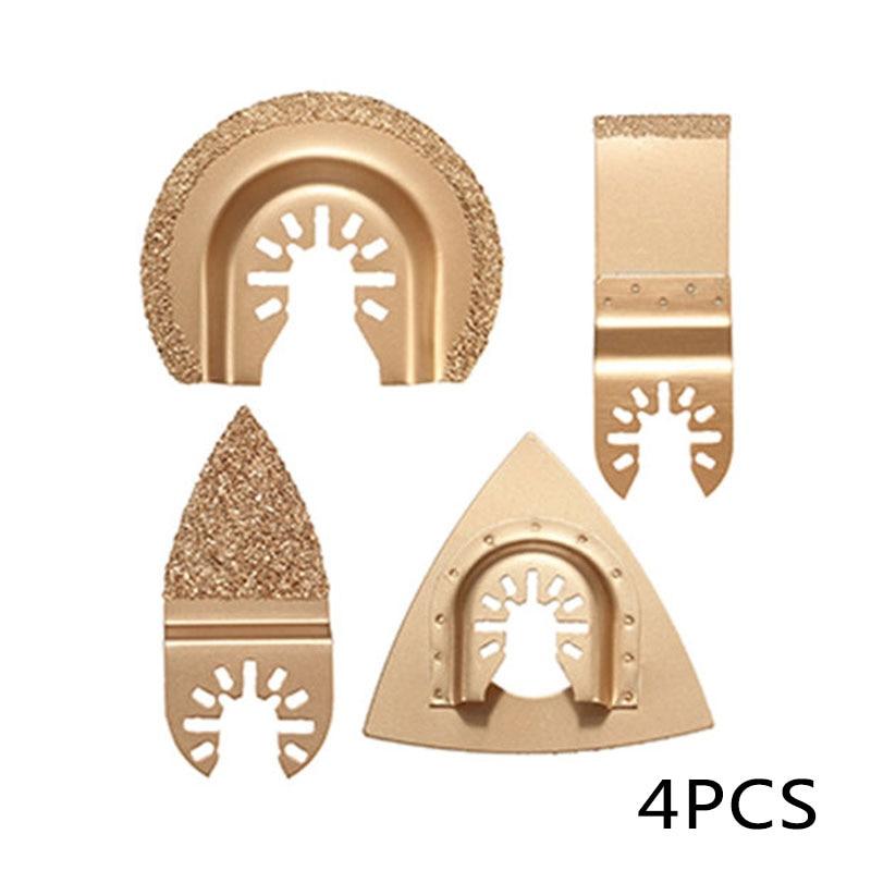 4 Pcs Diamond Carbide  Multi Function Oscillating Tool Grinding Saw Blades For Ceramic Porcelin Tile Metal Cutting Tool