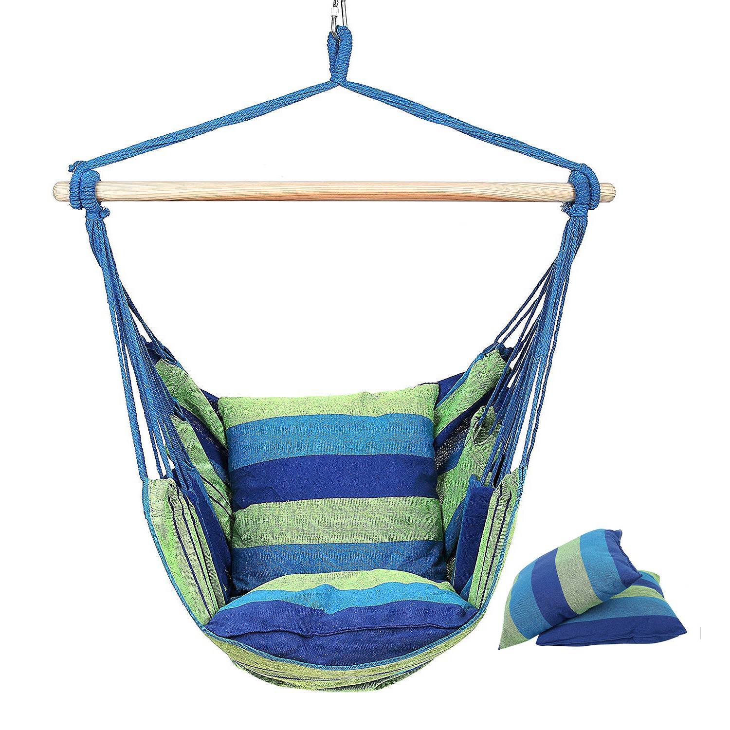 Hammock Chair Hanging Chair Swing Chair Seat With 2 Pillows For Indoor Outdoor Garden BlueHammock Chair Hanging Chair Swing Chair Seat With 2 Pillows For Indoor Outdoor Garden Blue