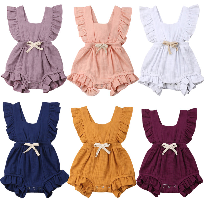 Newborn Baby Girls Ruffle Solid Color Romper Backcross Jumpsuit Outfits Sunsuit  Baby Clothing Casual Linen Cute Suit(China)