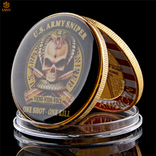American Souvenir Gift Original US Army Sniper One Shoot One Kill Gold Plated Free Eagle Military Challenge Coin american sniper