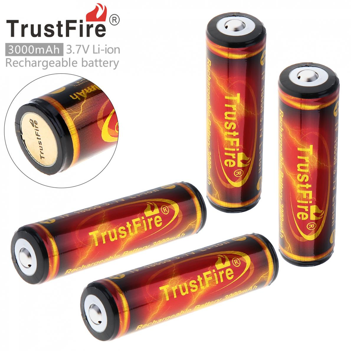 4 Pieces/Lot TrustFire Genuine Full Capacity 3000mAh 18650 3.7V Li-ion Rechargeable Battery with Protected PCB цена
