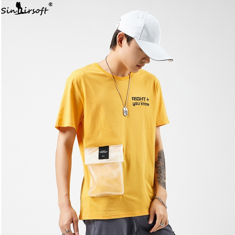 Men 39 s Casual Solid T shirt High Street Big Pocket Shorts Men Letter Print Short Sleeve Tees Male Streetwear Summer Tops 2019 Hot in T Shirts from Men 39 s Clothing