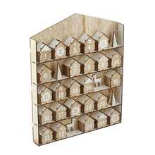 Christmas Advent Calendar Wooden,Pull the houses out and fill the houses with your chocolates or other small items.