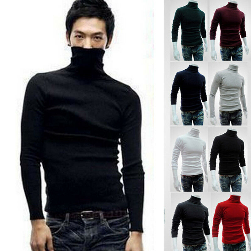 Hirigin High Neck Slim Warm  Jumper Men Knit Pullover Turtleneck Stretch  Long Sleeve Cotton High Neck Sweater