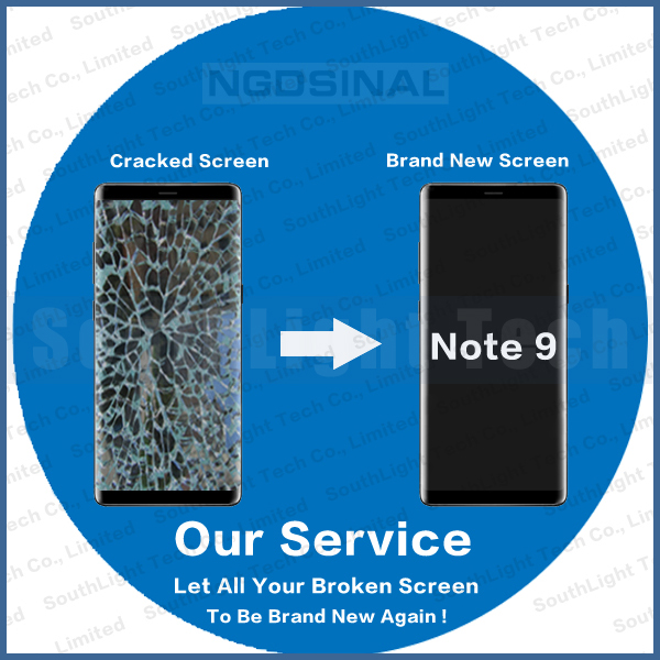 Original AMOLED Repair Service For Samsung Galaxy Note 9 LCD Touch Screen N960F Display With Frame Cracked Glass Digitizer Renew