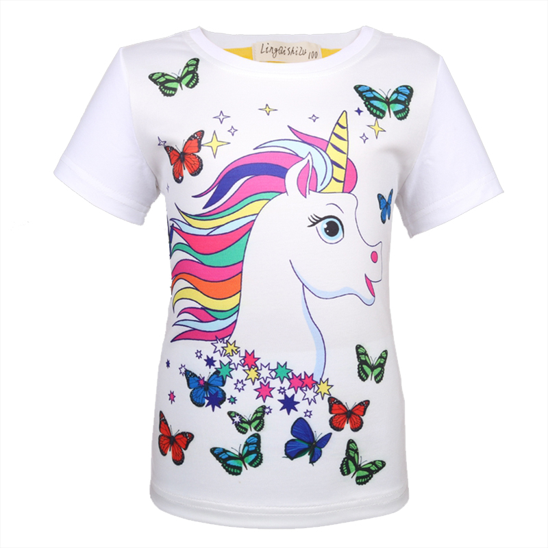 Unicorn Tshirt Tops Short-Sleeve Girls Cotton Cartoon Summer Cute for 8347